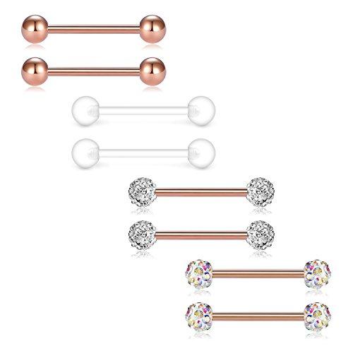 (JFORYOU Barbell Ring 316L Stainless Steel Cubic Zirconia Tongue Rings Body Piercing, 14 Gauge)