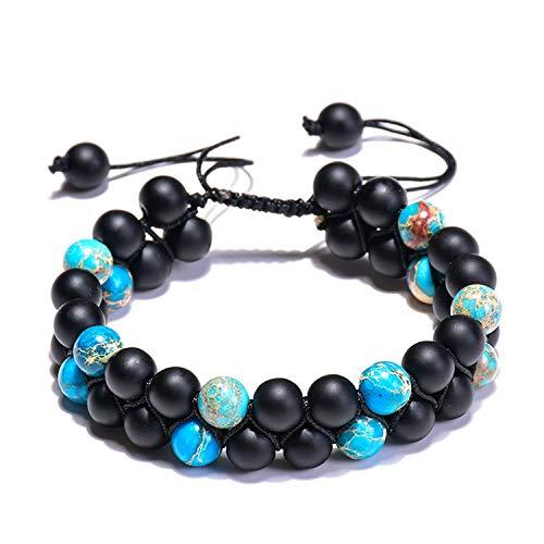 Yuan Bo Women Men Natural Energy Stone Essential Oil Lava Rock Black Onyx Tiger Eye Beads Bracelet Adjustable (C:Style 3)