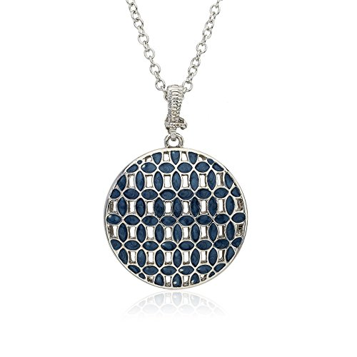 (Riccova Country Chic Denim Woven Circle Pendant On Long Chain Necklace/ White Metal)