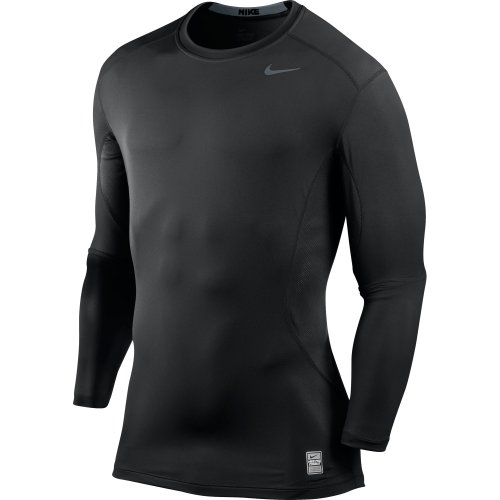 Nike Men's Pro Combat Core Fitted 2.0 Long Sleeve Shirt, Black/Grey, X-Large