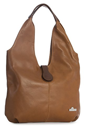 LiaTalia Genuine Italian Soft Leather Large Hobo Shopper Shoulder bag with Protective Dust Bag - Zoe [Medium Tan - Brown Trim] by LiaTalia Vera Pelle Made In Italy