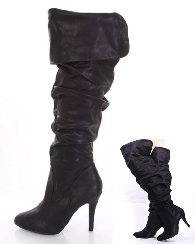 Black Faux Leather Ruched Fold Over Almond Closed Toe Boots (Purple Leopard Print Thigh Highs)