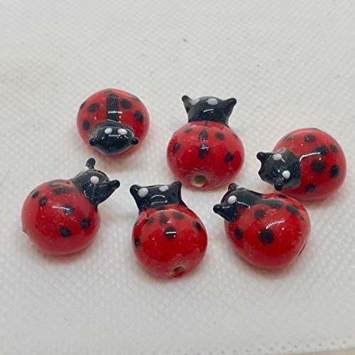 (5 Hand Made Glass Lampwork Lady Bug Beads for Jewelry Making 006586)
