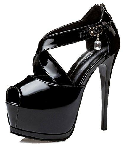 Aisun Women's Sexy Burnished Ankle Buckle Straps Zipper Peep Toe Platform High Stiletto Heel Sandals Black n6fay0K6qT
