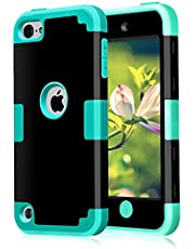 iPod Touch 7th Generation Case,iPod Touch 6th Generation Case Dual Layered 3 in 1 Hard PC Case + Silicone Shockproof Heavy Duty High Impact Armor Hard Cover Case for iPod 7 6 5 Cases