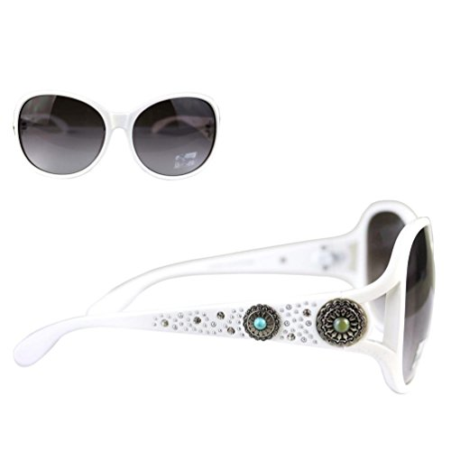 Montana West Ladies Sunglasses Rhinestones Flower Conchos Turquoise Stones UV400, White Frame Black Lens from Montana West