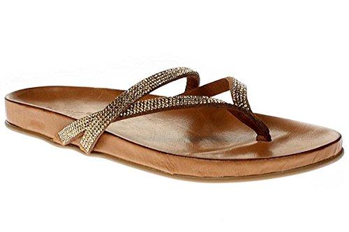 Inuovo 6056 - Damen Sandalette Pantolette Zehentrenner - gold-strass-coconut