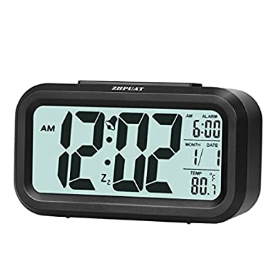 ZHPUAT 4.6  Digital Alarm Clock with Smart Controllable Backlight (Black)
