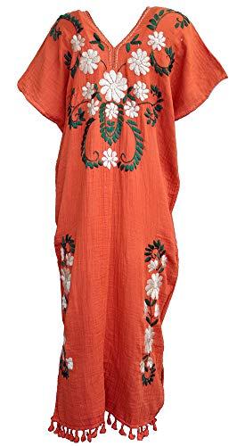 Amazing Grace Elephant Co. Lady Hand Embroidered Cotton Ethnic Bohemian Coverup Kaftan Mumu Dress (Orange) ()