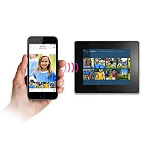 "Aluratek (AWDMPF208F) 8"" Hi-Res WIFI Digital Photo Frame w/ Touchscreen IPS LCD Display & 8GB Memory (1024 x 768 Resolution), Photo/Music/Video Support, Wall Mountable"