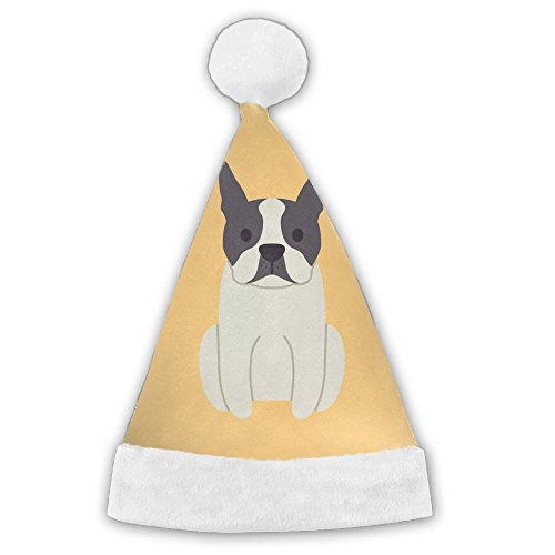 Boston-Terrier-Dog Christmas Santa Hat with Plush White Cuffs -