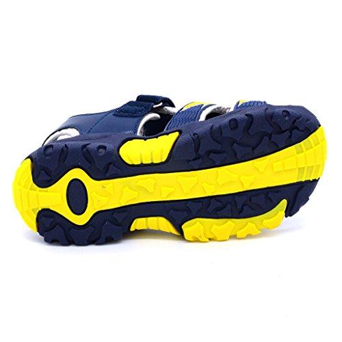 Bwiv sandalias con velcro para niño con plantillas forradas de piel sandalias deportivas antideslizantes de las tallas 24,5-38 EU Azul oscuro y amarillo
