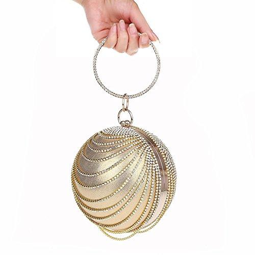 de rhinestones de de de de 13cm Wgwioo tarde las la de banquete Bag 25 señoras cristales los del la bolso boda forma bolso la x de silver forma gold de embrague bola qgwIRwa
