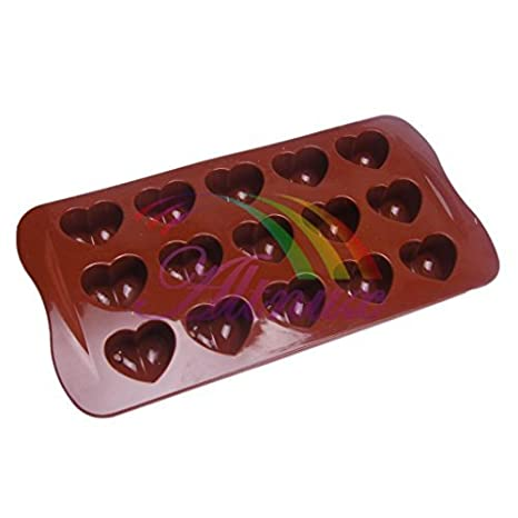 Philna12 - Molde de Silicona para Tarta con Forma de Corazón (Chocolate)