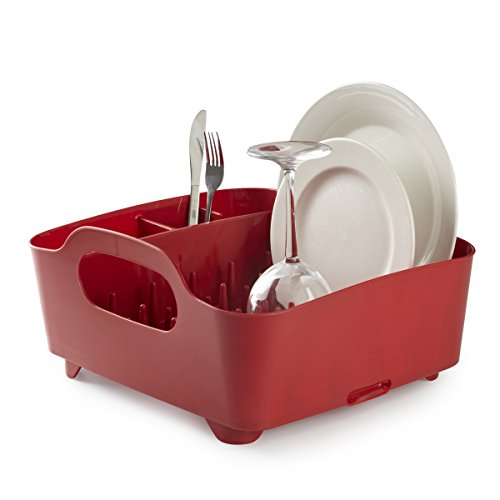 Umbra Tub Dish Drying Rack - Lightweight Self-Draining Dish Rack for Kitchen Sink and Counter at Home, RV or Motorhome, Red