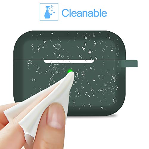 Compatible AirPods Pro Case Cover Silicone Protective Case Skin for Apple Airpod Pro 2019 (Front LED Visible) Midnight Green