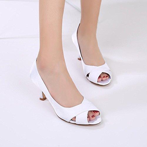 Mesure Sandals pour E17061 Chaussures Toe YC Peep L de Satin Mariage Blue Stitching Lace Soie 13 sur Femmes comme qOwST