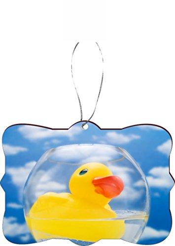 Rikki Knight RKWS-SQORN-45060 Christmas Tree Ornament / Car Rear View Mirror Hanger Yellow Rubber Duck Plastic Bath Toy (Duck Mirror)