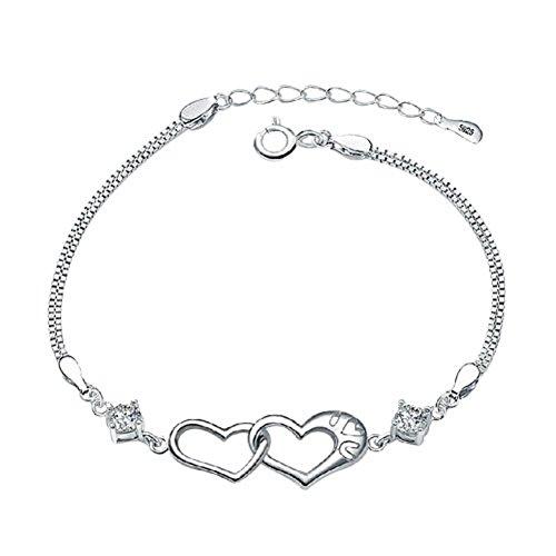 Corykeyes 925 Sterling Silver Double Heart Bracelet For Women Girls (I Love You)