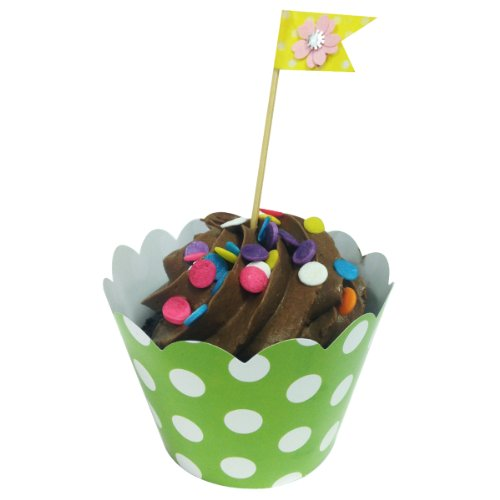 AllyDrew Standard Size Polka Dots Cupcake Wrappers (Set of 20), Green -
