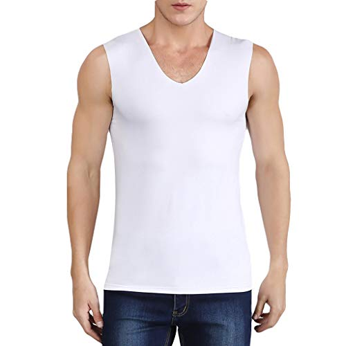 Men's Pure Color Tank Tee Summer Breathable V-Neck Sleeveless SLIN Fit Tops Shirts (4XL, White) Breathable Rug By Shirt