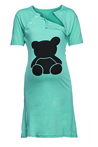 Happy Mama. Para Mujer Camisón Premamá Embarazo y Lactancia Oso de Peluche. 984p Verde Azulado