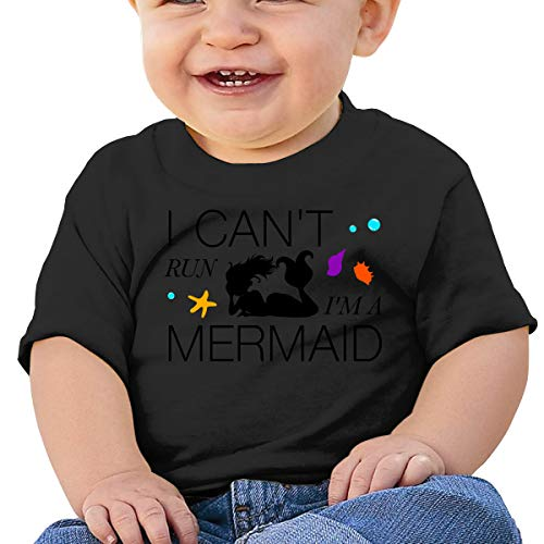 Baby Short Sleeveor,Fairy Tale I Can't Run I'm A Mermaid Running Humor Baby T Shirts Toddler Short Sleeve Top for Boys and Girls 6M Black ()