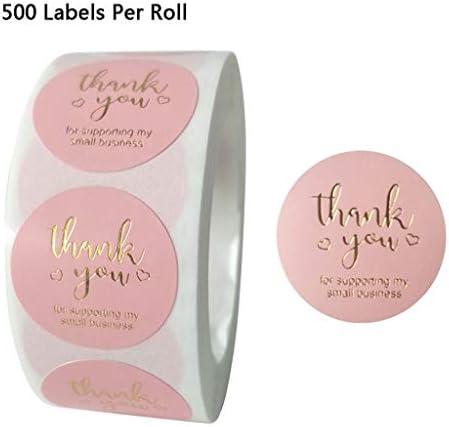 RG-FA 500 Stück/Rolle rosa DIY Handmade Thank You Aufkleber Hochzeit Paket Siegel Etiketten C06