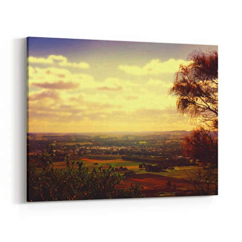 Rosenberry Rooms Canvas Wall Art Prints - Retro Sunset Filter Style Scenic Views Overlooking Barossa Valley, South Australian Prominent Wine Growing Region (14 x 11 inches)