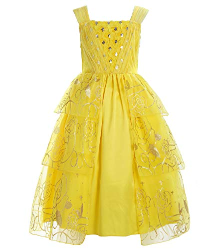 ReliBeauty Girls Sleeveless Sequin Princess Belle Costume Dress up, Yellow, 10 -