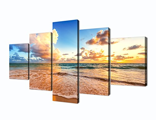 - Sunset Beach Scene Seascape Landscape Picture Modern Painting on Canvas 5 Piece Framed Wall Art for Living Room Bedroom Home Decoration Stretched Gallery Canvas Wrap Giclee Print (60''W x 32''H)