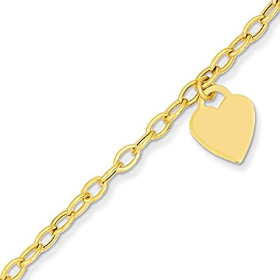 14k Gold Heart Dangle Charm Bracelet with Lobster Clasp (2.9mm)
