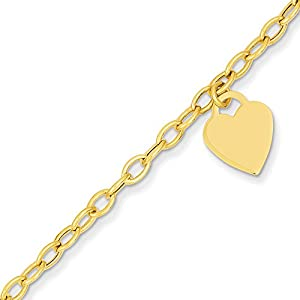 Jewel Tie 14k Gold Heart Dangle Charm Bracelet with Lobster Clasp (2.9mm)