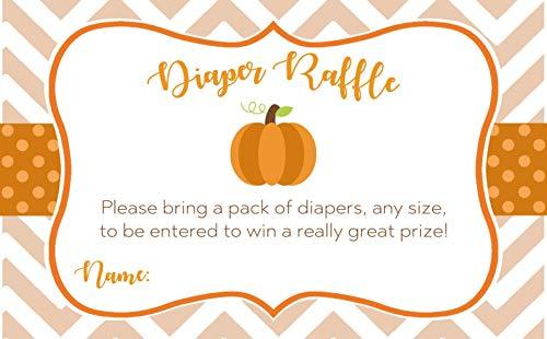 Pumpkin Diaper Raffle Ticket Baby Shower Chevron Little Pumpkin Diaper Party Raffle Insert Cards Gender Neutral Team Green Unisex Orange Fall Halloween Stripes Polka Dots (25