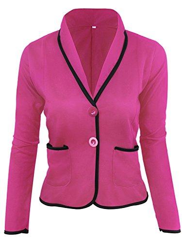 MisShow Womens Versatile Business Attire Blazers Jacket Suit with Plus Size(Fuchsia,4XL) by MisShow
