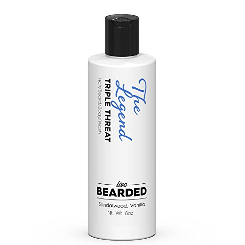 Sandalwood Beard Wash with hint of Vanilla   Live Bearded Made in USA   The Legend All Natural Beard Shampoo