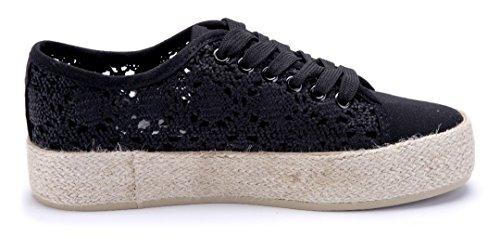 Schuhtempel24 Damen Schuhe Low Sneaker Flach Cut Out Schwarz
