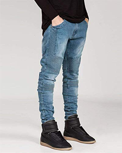 Slim Pantaloni Di Denim Fit Stretch Biker Uomo Cerniera Skinny Jeans Trapuntato Jeggings 01blau Svago 8x8RFq
