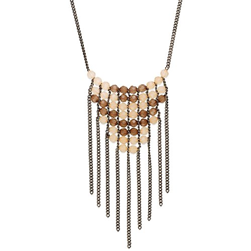 American Rag 32-in Brass-Tone Faceted Bead and Chain Fringe Long Bib Necklace