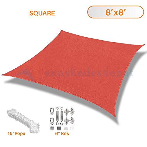 Sunshades Depot 8' x 8' Sun Shade Sail 180 GSM with 6'' inch Hardware Kit Square Permeable Canopy Red Custom Size Available Commercial Standard