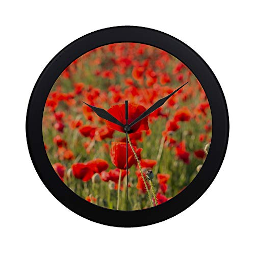 (WBSNDB Modern Simple Flowers Red Poppies Blossom On Wild Field Pattern Wall Clock Indoor Non-Ticking Silent Quartz Quiet Sweep Movement Wall Clcok for Office,Bathroom,livingroom Decorative 9.65)