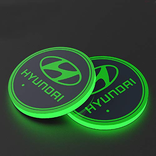 Auto Sport 2PCS LED Cup Holder Mat Pad Coaster with USB Rechargeable Interior Decoration Light Fit Hyundai Accessories (Hyundai Accent Interior Light)