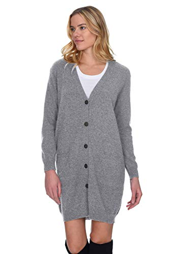 (State Cashmere Women's 100% Pure Cashmere V Neck Fashion Long Cardigan (Medium, Heather Grey))