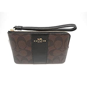 Coach F58035 Corner Zip Wristlet in Signature Coated Canvas Brown Black
