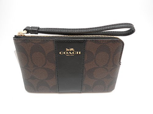 Coach Wristlet - Coach F58035 Corner Zip Wristlet in Signature Coated Canvas Brown Black