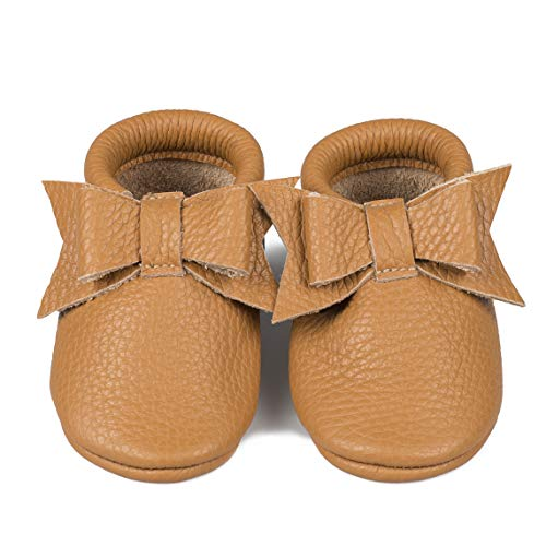 Baby Moccasins with Bow (Italian Leather) Soft Sole Shoes for Boys and Girls | Infants, Babies, Toddlers (6-9 Months, Caramel)