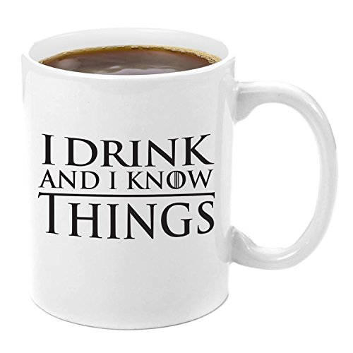 I Drink and I Know Things | Premium 11oz Coffee Mug Gift Set - GoT I Drink and I Know Things, Thats What I Do I Drink and I know Things, Game of Thrones Gifts, Glass, GoT Gift Set, for Men, Women (Beer Gift Basket Delivery)
