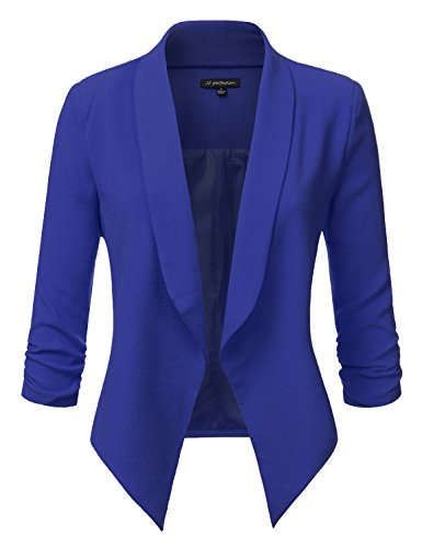 JJ Perfection Women's Texture Woven Thin Ruched Sleeve Open-Front Padded Blazer Royalblue L (Ruched Blazer Sleeve)