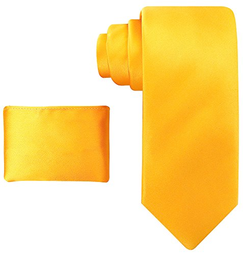 Mens 100% Silk Solid Sunflower Yellow Necktie with Pocket Square - Yellow Tie Set