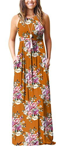 (GRECERELLE Women's Casual Loose Long Dress Sleeveless Floral Print Maxi Dresses with Pockets Yellow-M)